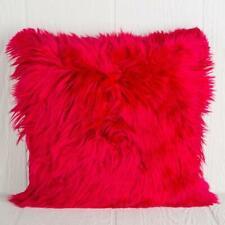 Luxurious Fur Alpaca Pillow Red, Alpaca pillow cover cushion, Square All sizes