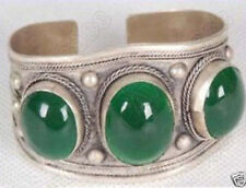 Exquisite Carved Tribal Green JADE Women Men Tibet Silver Bangles Cuff Bracelets