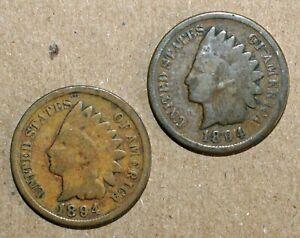 2 Coin Lot 1894 Indian Head Pennies Good Circulated 1c US Coins Philadelphia