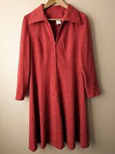 70s vintage orange zip-front day dress 14 mod secretarial
