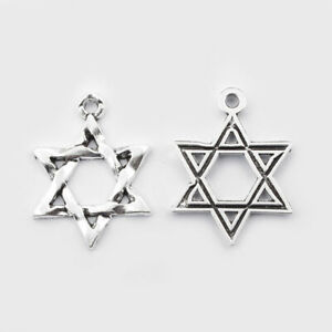 6PCS Antique Silver Hexagram Star of David Charm Pendant for Necklace Jewelry