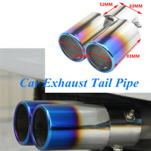 1PCS Car Exhaust Tail Pipe Tip Muffler 63mm Inlet Toasted Roasted Blue Stainless