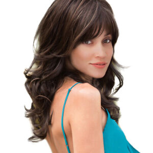 """Natural Wavy Curly 20"""" Synthetic Hair Wigs with Cap Bangs for Women Black"""