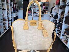 Prada Yellow Ostrich Strap Straw Tote Handbag Purse Shop & Pick Up @LA Store