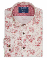 T.M.Lewin Mens Vintage Inspired Slim Fit Red Floral Single Cuff Shirt