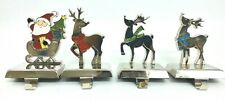 Christmas Stocking Hangers Metal Santa Sleigh Reindeer Set of 4