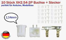 10 Stück XH2.54-2P Stecker 1S Set mit Buchse und Crimpkontakten perfekt f Lipo