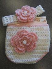 NWT So Adorable Hand Crochet Girls Diaper Cover & Headband white & pink
