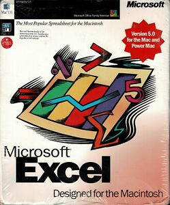 Microsoft Excel Version 5.0 For Mac and Power Mac Sealed Retail Box Mac 7, 8, 9