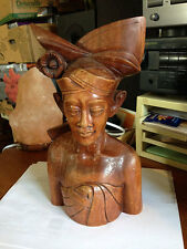 "BALI WOOD CARVED MALE BUST WITH AXE 10.5"" TALL"