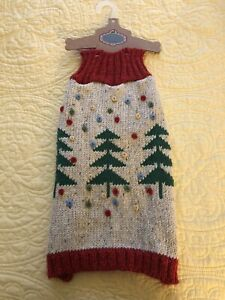 PRET A PAW DOG COUTURE CHRISTMAS SWEATER W/CHRISTMAS TREES LARGE NEW