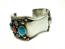 Old Pawn Style Sterling Silver Watch Band Cuff Bracelet with Turquoise and Coral