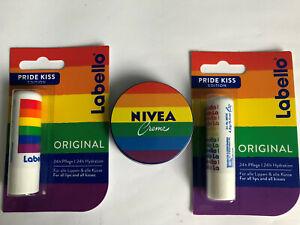 Nivea Creme Regenbogen & Labello PRIDE KISS limitierte Edition 3er Set, neu