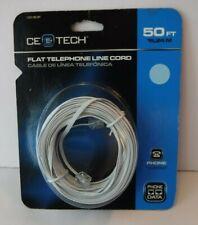 Flat Telephone Line Cord 50 ft White