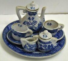 Vintage Miniature Blue Willow Tea Set 10 Piece For Child's Dollhouse