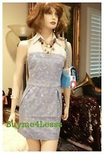 Junior BOHO Blue Ivory Tie Dye Sports Sleeveless Zip Cotton Denim mini Dress NEW