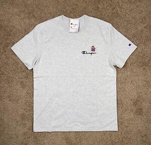 NEW Sz LG Men's Champion X Super Mario Bros Short Sleeve Shirt Gray