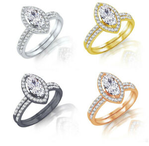 Clear Marquise Gold Plated Engagement Sterling Silver Ring Set