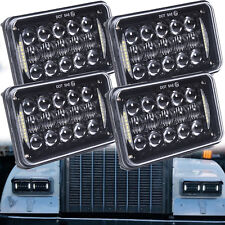 Black 4x6'' H4 LED Headlights Hi-Lo Beam for Kenworth T800 Peterbilt H4651 H4656