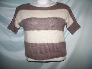 American Eagle Outfitters Gray Striped Short Sleeve Sweater Sz XS Juniors