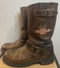 HARLEY DAVIDSON BROWN LEATHER ROUND TOE ENGINEER MOTORCYCLE BOOTS #91067 MENS 10