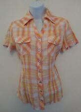 BNWT Girls NEW LOOK Short Sleeved Pink/orange/yellow Checked Shirt Top
