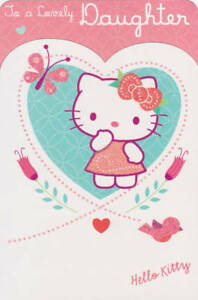 """Official Licensed """"HELLO KITTY LOVELY DAUGHTER"""" Birthday Card"""