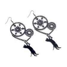 Halloween Long Black Cat Vintage Punk Black Dangle Steampunk Earrings Hotsale