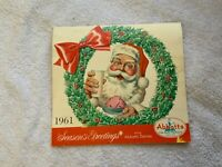 Vintage 1961 Abbott's Dairies Merry Christmas Santa Calendar Philadelphia