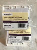 White Vinyl Fence Panel Rail Bracket Mounting Kit - Model 127605 -2 pc Kit