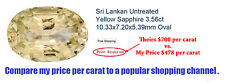 NATURAL OVAL CEYLON YELLOW SAPPHIRE 5.38 CARATS W/FREE APPRAISAL