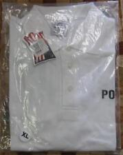 NEW 100% Cotton White 3 Button Golf Polo Shirt Front & Back POLICE Choice Size!!