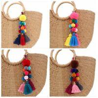 PomPom Thread Tassel Multi-Colored Handbag Key Chain Ring Bag Charm DIY Handmade