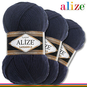 Alize 3x 100G Lanagold Premium Lana 49% Wolle-51% Acrílico Azul Noche 58 Hecho