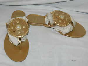 JACK ROGERS GOLD RUBBER THONGS SIZE 8