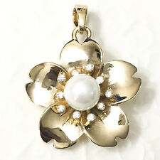 Huge Flower Pearl White Round Diamond Halo Pendant Yellow Gold Plated