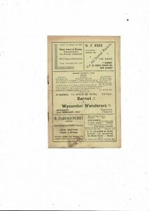 1951/52 Barnet v Wycombe Wanderers Amateur Cup Football Programme