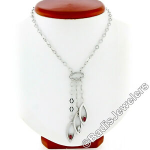 Statement 14k White Gold .76ctw Marquise Ruby Diamond Chandelier Dangle Necklace