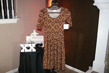 NWT New LuLaRoe Nicole Women's Sexy Dress Brown Copper Snakeskin Look Size XXS