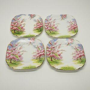 "Vintage Royal Albert Bone China Blossom Time 6"" Bread & Butter Plates Set of 4"