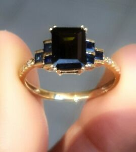 Natural Black Sapphire Diamond Solid Yellow 9K Gold Ring Cocktail statement sz 7