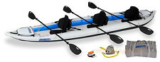SEA EAGLE 465FT PRO PACKAGE INFLATABLE FAST TRACK KAYAK W/ 3 SEATS & PADDLES!