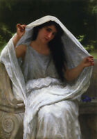 """Huge Oil painting Bouguereau - Beauty young girl with The Veil in landscape 36"""""""