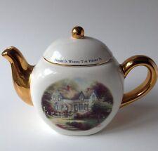Thomas Kinkade Teapot Home Is Where The Heart Is Gold White Teleflora