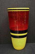 Murano Incalmo Art Glass Vase in Yellow, Red, and Blue - Italian Vintage