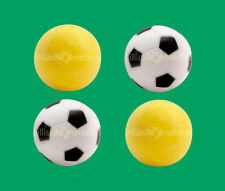 4 Foosballs: 2 Yellow Textured & 2 Black & White Engraved Table Soccer Balls