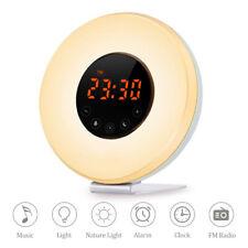 LED Wake Up Licht Wecker Sonnenaufgang Radio Stimmungslicht Nachtlicht DHL