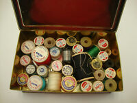 Lot Of 31 Vintage Mostly Wooden Sewing Thread Spools 9 Plastic Clark's It A Tin