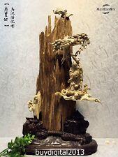 52CM Indonesia Agarwood Handwork Chinese God of longevity Pine Tree sculpture