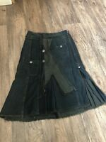 Sandwich Denim Skirt Mid Lenglth Layer Detail Pocket Button   36 uk 8
